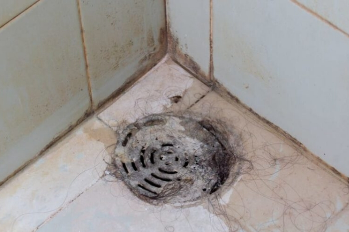Shower drain blocked by fair.